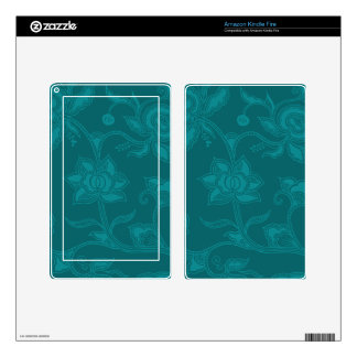 Glamorous Vintage Floral Elegant Teal Turquoise Kindle Fire Decal