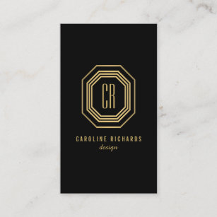 Art business cards 56300 art business card templates glamorous vintage gold art deco initials monogram business card colourmoves
