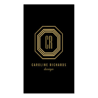 Glamorous Vintage Gold Art Deco Initials Monogram Double-Sided Standard Business Cards (Pack Of 100)