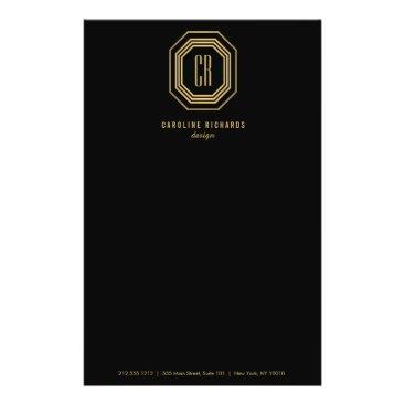Glamorous Vintage Gold Art Deco Initials Monogram Flyer