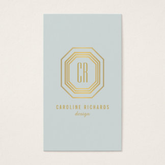 Glamorous Vintage Gold/Pale Aqua Art Deco Monogram Business Card