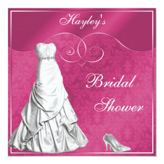 Glamorous Wedding Gown Pink Bridal Shower Card