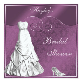 Glamorous Wedding Gown Purple Bridal Shower 5.25x5.25 Square Paper Invitation Card