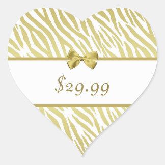 Glamorous White and Gold Zebra Print Price Tag Heart Sticker