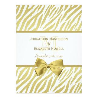 Glamorous White and Gold Zebra Print Wedding Card