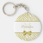 Glamorous White and Gold Zebra Print With Name Keychains