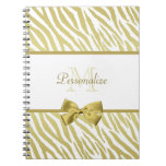 Glamorous White and Gold Zebra Print With Name Journals