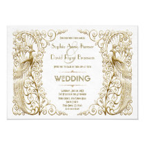 Glamorous White Gold Art Deco Peacocks Wedding Card