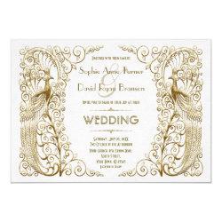 Glamorous White Gold Art Deco Peacocks Wedding Invitation