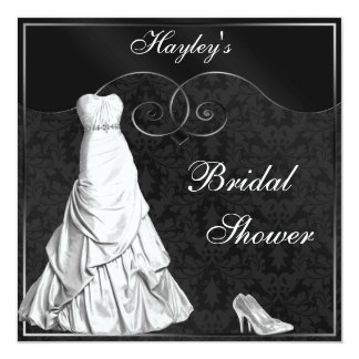 "Glamorous White Gown Black Silver Bridal Shower 5.25"" Square Invitation Card"