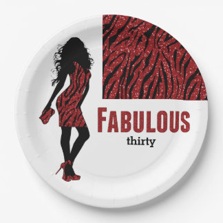 Glamorous Woman Red 9 Inch Paper Plate