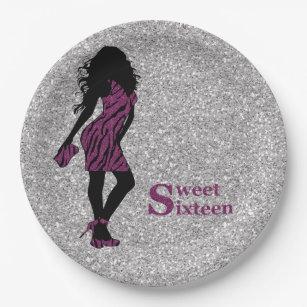 Glamorous Woman Sweet 16 Paper Plate  sc 1 st  Zazzle & Tiger Print Plates | Zazzle