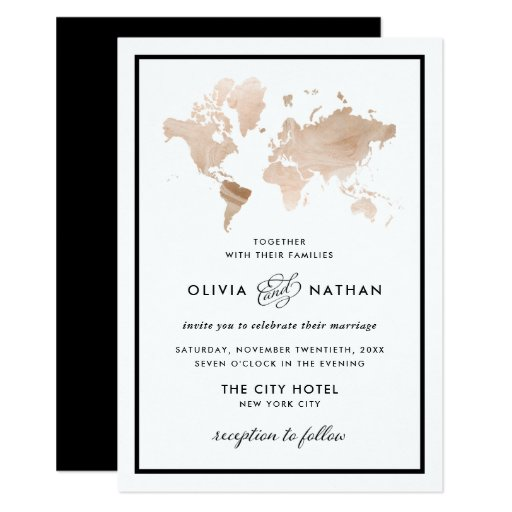 Glamorous World Map Elegant Travel Theme Wedding Invitation