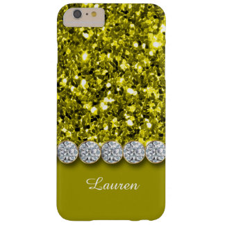 Glamorous Yellow Glitter And Sparkly Diamonds Case Barely There iPhone 6 Plus Case
