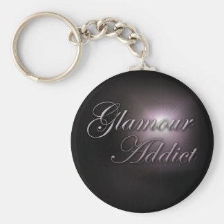 """Glamour Addict"" slogan keyring"