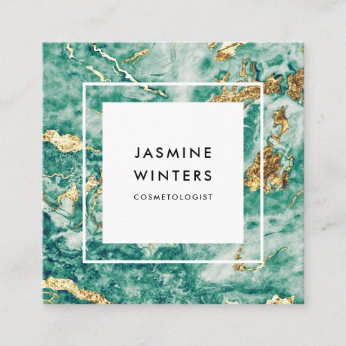 Glamour chic gold foil turquoise marble watercolor square business card