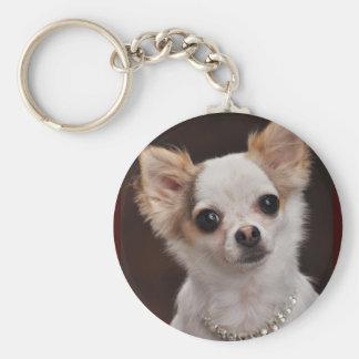 Glamour Chihuahua Diva Basic Round Button Keychain