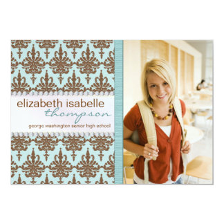 "Glamour Damask & Jewel Graduation Announcement 5"" X 7"" Invitation Card"