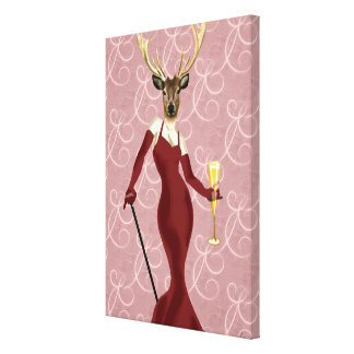 Glamour Deer in Marsala Canvas Print
