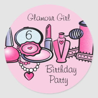 Glamour Girl Birthday Classic Round Sticker