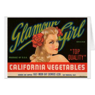 Glamour Girl California Vegetables Vintage Ad Card