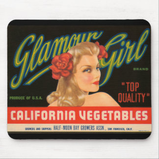 Glamour Girl California Vegetables Vintage Ad Mouse Pad