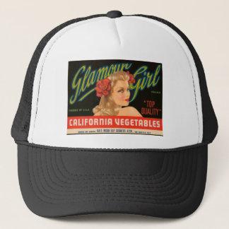 Glamour Girl California Vegetables Vintage Ad Trucker Hat