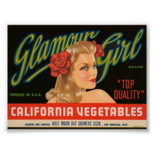 Glamour Girl California Vegetables Vintage Crate L Poster