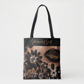 Glamour Girl Lipstick & Floral Jewels Tote Bag