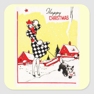 Glamour Girl with Scotty Dog Greetings Square Sticker