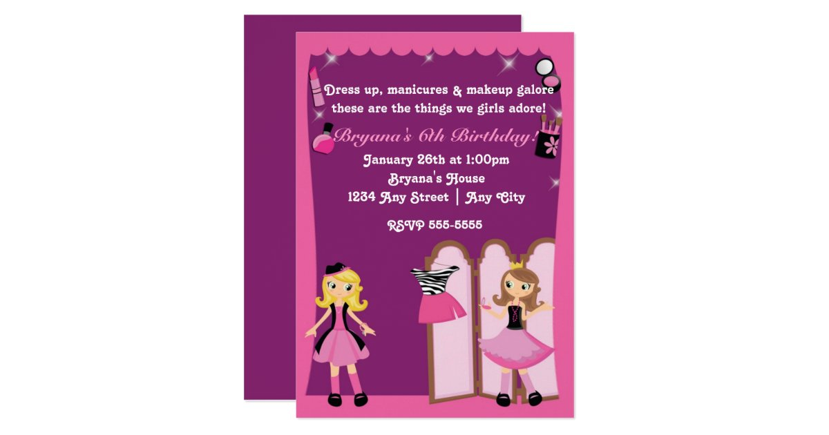 Glamour girls dress up Makeover Party Invitations – Dress Up Party Invitations