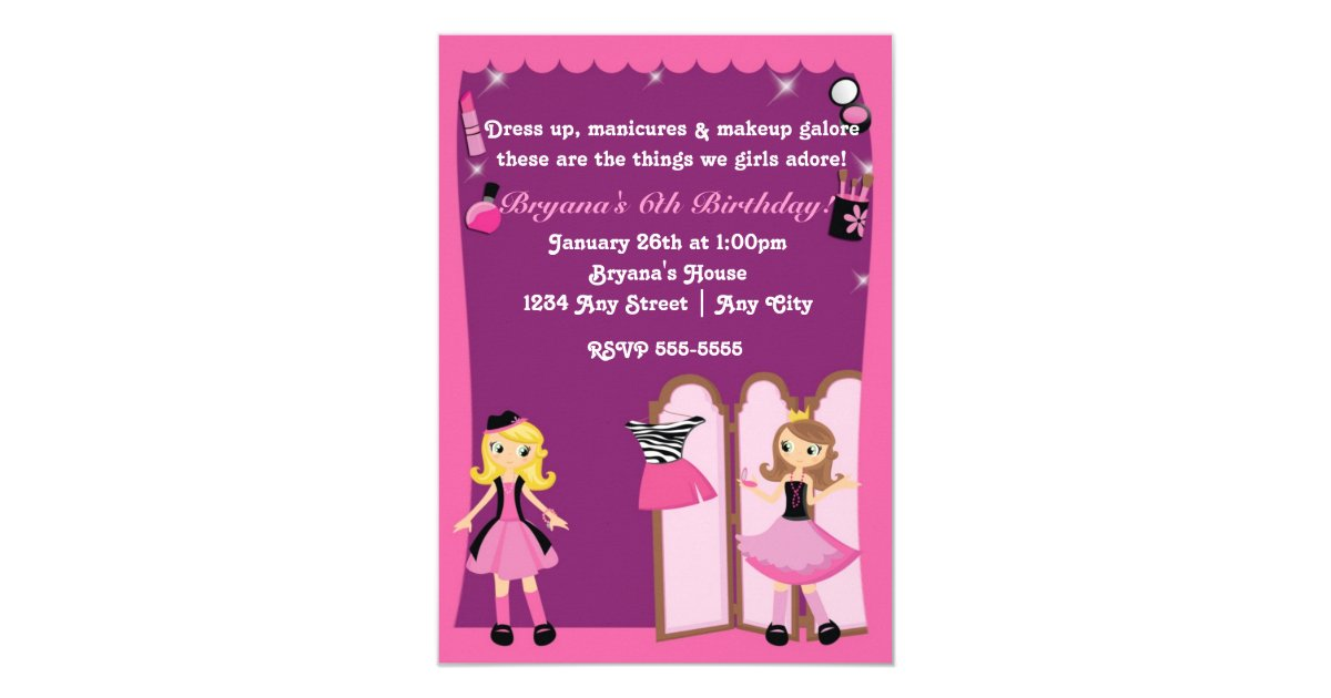 Glamour girls dress up Makeover Party Invitations | Zazzle.com