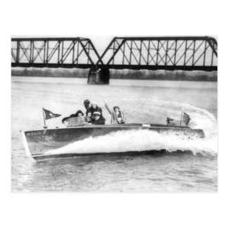 Glamour Girls in Speed Boat Postcard