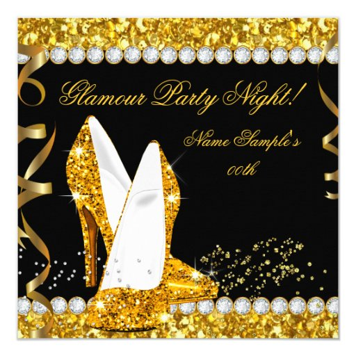 glamour glam glitz party night gold high heels card
