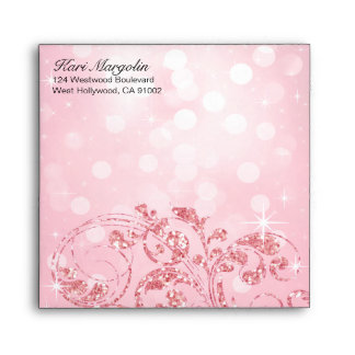 Glamour Glitter Luxe Bokeh square   icy pink Envelope