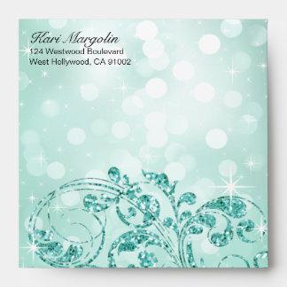 Glamour Glitter Luxe Bokeh square | mint Envelope