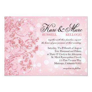 Glamour Glitter Luxe Bokeh Wedding | icy pink Card