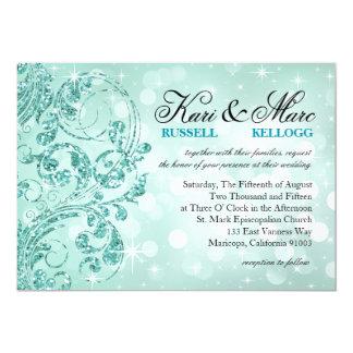 Glamour Glitter Luxe Bokeh Wedding | mint Card