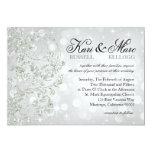 Glamour Glitter Luxe Bokeh Wedding | silver ice 5x7 Paper Invitation Card