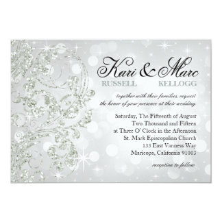 Glamour Glitter Luxe Bokeh Wedding | silver ice 5x7 Paper Invitation Card
