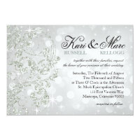 Glamour Glitter Luxe Bokeh Wedding | silver ice Card