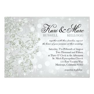 Glamour Glitter Luxe Bokeh Wedding | silver ice Card