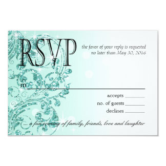 Glamour Glitter Luxe Ombre RSVP | mint Card