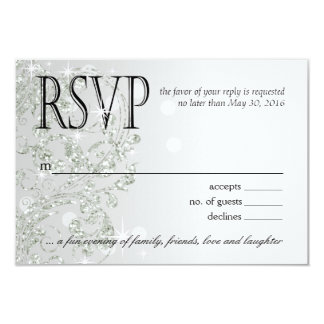 Glamour Glitter Luxe Ombre RSVP | silver ice 3.5x5 Paper Invitation Card
