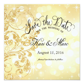 Glamour Glitter Luxe Save the Date | champagne Card