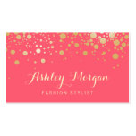 Glamour Gold Dots Decor - Charming Pink Coral Double-Sided Standard Business Cards (Pack Of 100)