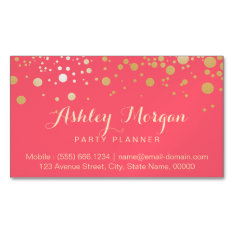 Glamour Gold Dots Decor - Charming Pink Coral Magnetic Business Card at Zazzle