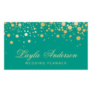 Glamour Gold Dots Decor - Retro Emerald Green Business Card