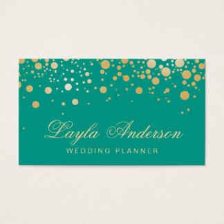Glamour Gold Dots Decor - Retro Emerald Green Business Card