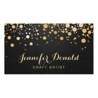 Glamour Gold Dots Decor - Stylish Dark Linen Look Double-Sided Standard Business Cards (Pack Of 100)